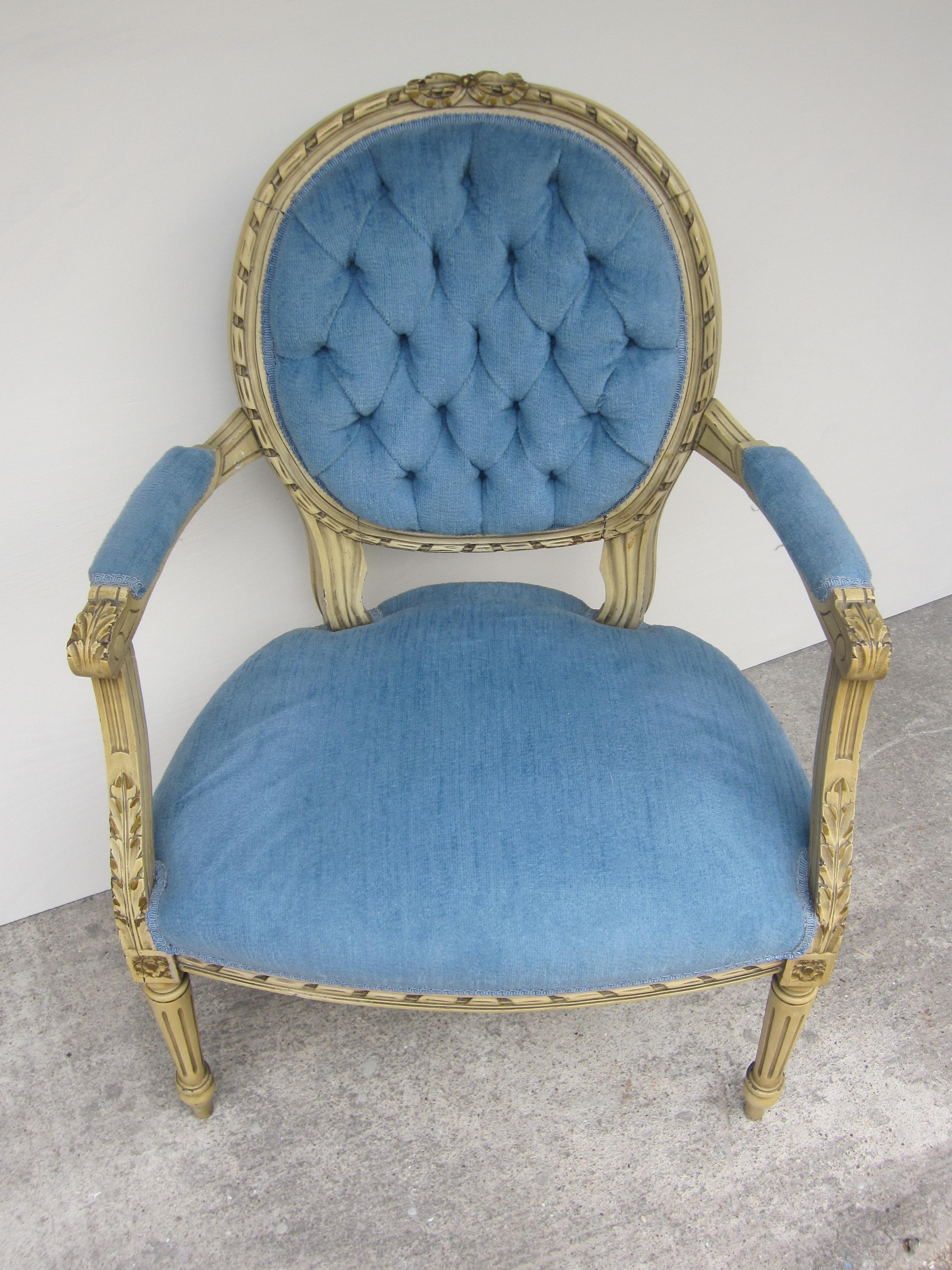 old blue chair best dxracer antique french chairs houston furniture refinishing