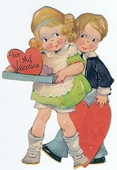 vintage valentine with young boy and gilr