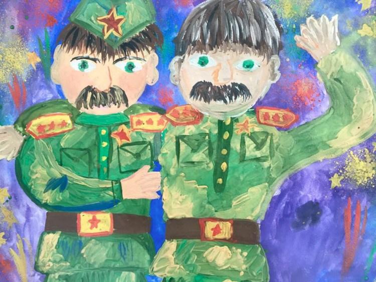 """De finaste barnteckningarna ställdes också ut på det nya fina, muséet över """"Det Stora Fosterländska Kriget"""". [Foto: Lasse Diding]"""