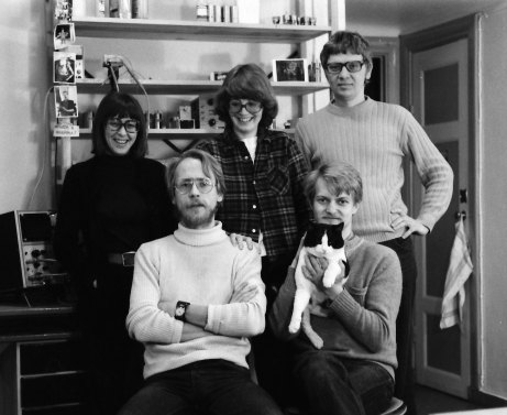 Firmans personal när Ulf Hedlund tog över verksamheten 1977. Ingalill Englund, Kaj Johansson, Eva Wesslén, Magnus Eriksson och Henrik Linde.