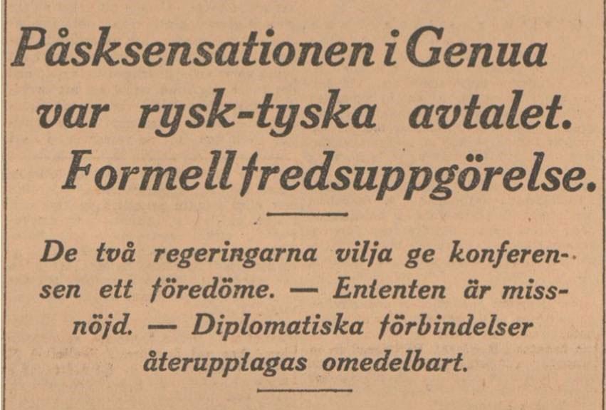 Den oväntade tysk-ryska överenskommelsen 1922