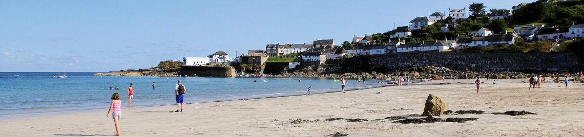 Coverack Beach is very popular with families