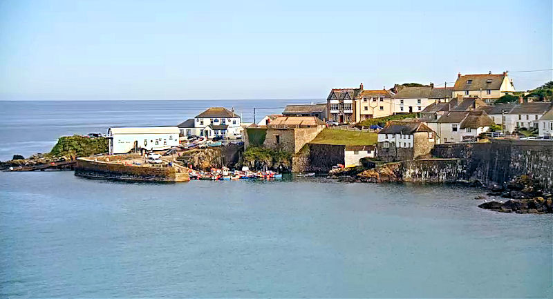Coverack Harbour in the summer