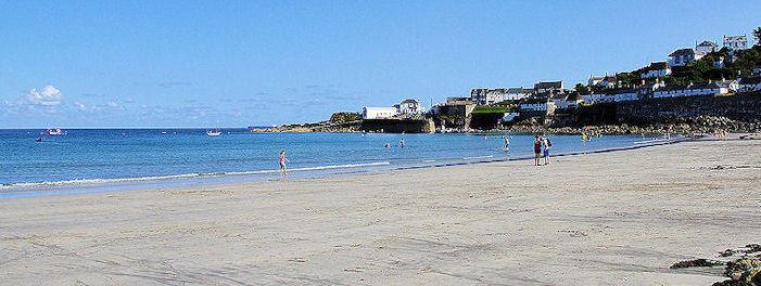 Walking along the beach in Coverack Cornwall