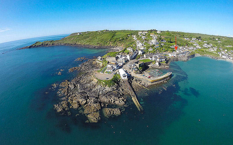 Coverack from the air in Cornwall