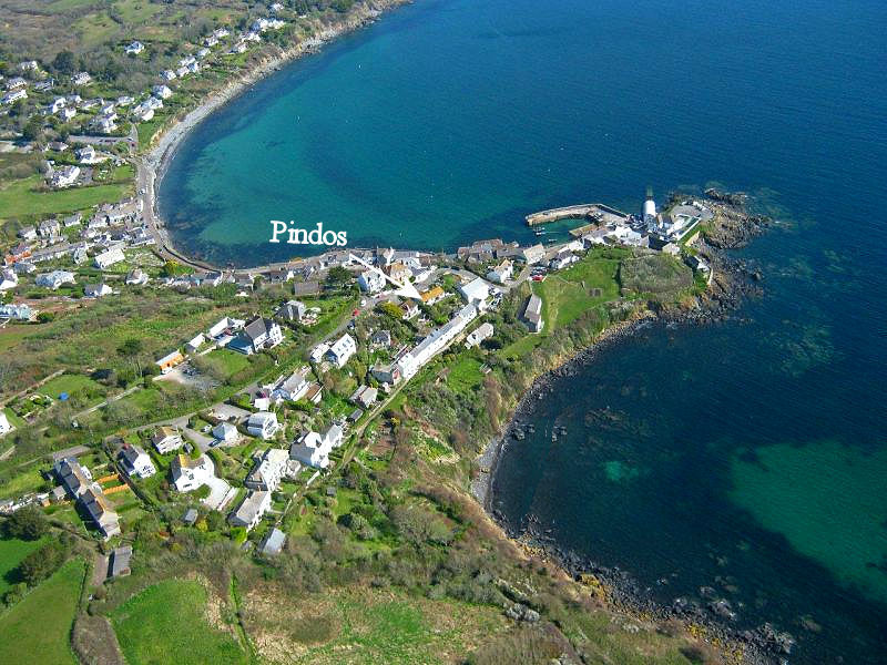 Arial view Coverack - Pindos Cottage in Cornwall - self catering from Lindford House