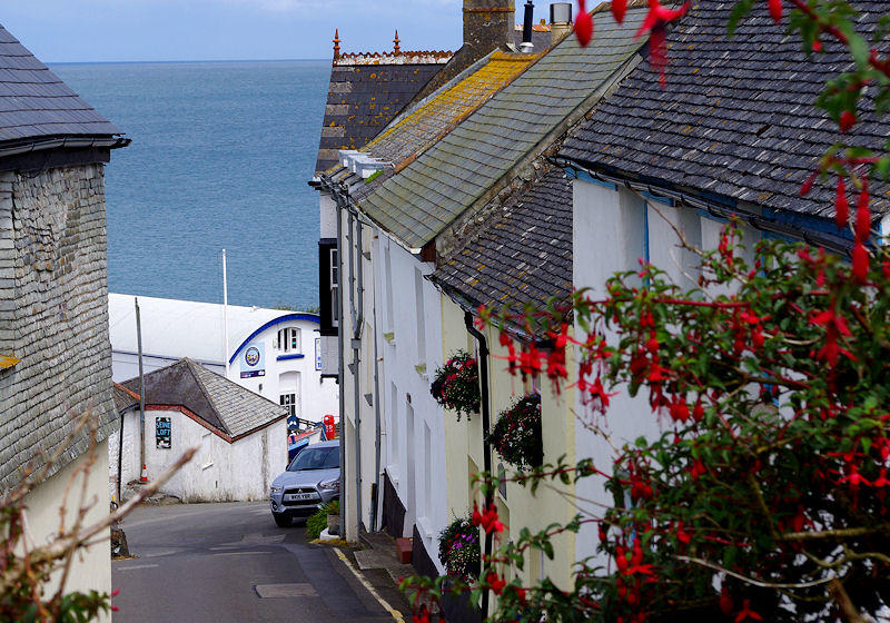 Coverack - view down the narrow streets in Cornwall