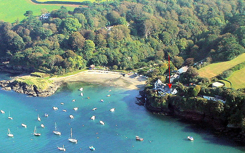 Rose on The Hill Cottage from the air - Gillan / Helford Cornwall