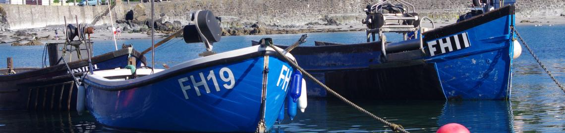 Small fishing boats at Coverack in Cornwall