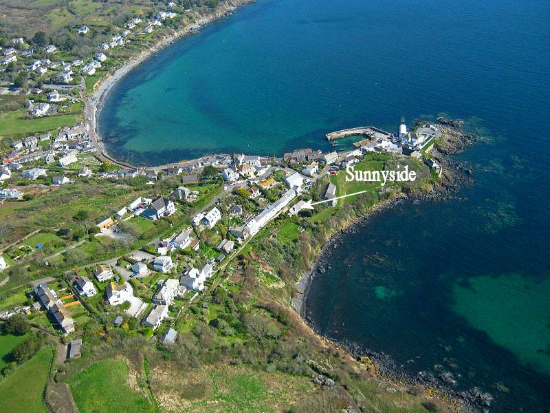 Arial view Sunnyside Cottage Coverack Cornwall - self catering