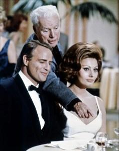 Brando con Sophia Loren e Charlie Chaplin-La Contessa di Hong Kong