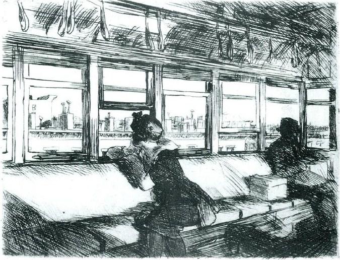 Night on the El Train, Edward Hopper, 1918, acquaforte