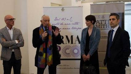 Inaugurazione, il rettore dell'università di Parma Loris Borghi, il sindaco Federico Pizzarotti, l'assessora alla cultura Laura Maria Ferraris