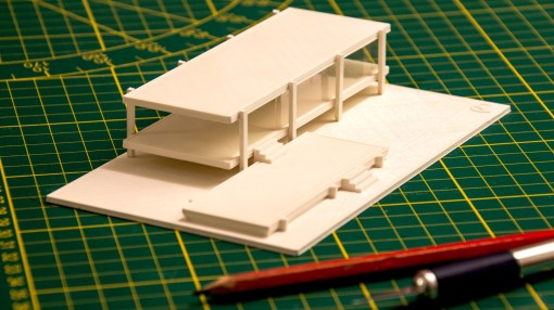Farnsworth House - 1/200th scale - white PLA - Printing time: 4 hours