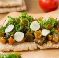 Amazing Crispbread & Flatbread toppings-roasted eggplant carrots and onion
