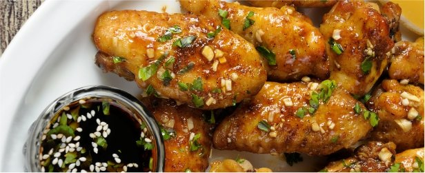 Fried Chicken Wings in Ginger Garlic Marinade