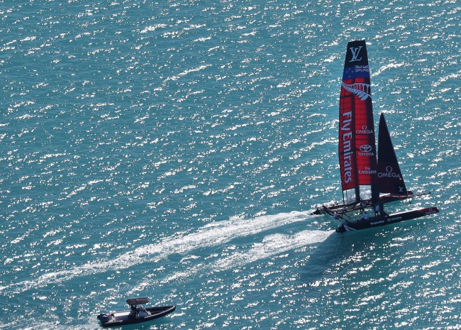 Team New Zealand ripping through the sound during training in peparation of the 35th Americas Cup (Photograph by Blaire Simmons)