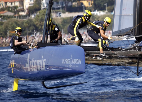 Artemis Racing boat team in action on day two of the America's Cup World Series event off Toulon, southern France, Sunday, Sept.11, 2016. (AP Photo/Claude Paris)