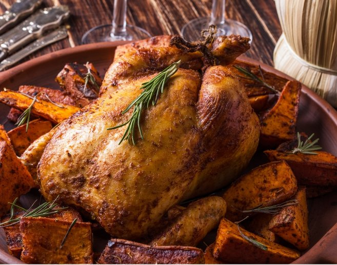 Paprika Roasted Chicken & Sweet Potatoes