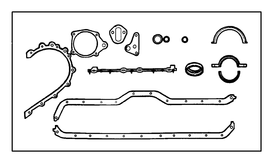 Jeep Wrangler Engine Crankcase Cover Gasket Set (Lower