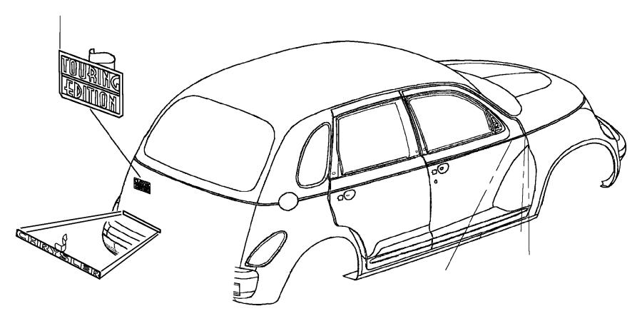 Chrysler PT Cruiser Emblem. Nameplate. TOURING EDITION