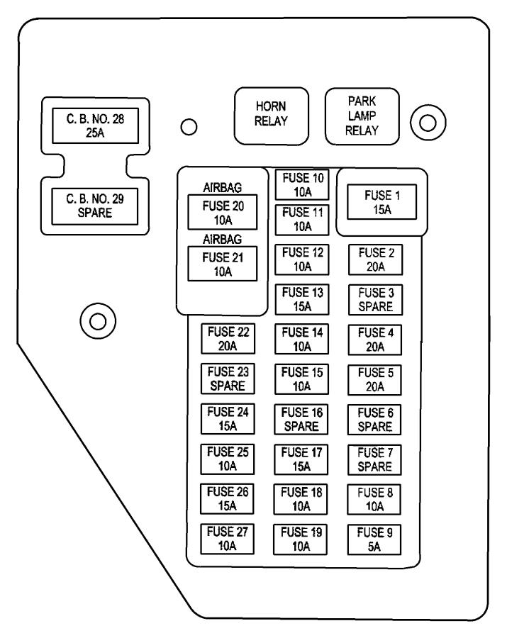 Dodge Journey Circuit Breaker. Amp, REAR, LUGGAGE