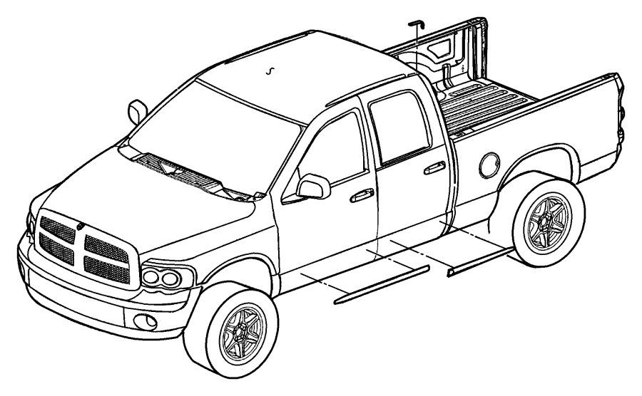 Dodge Dakota Door Molding (Front, Upper, Lower