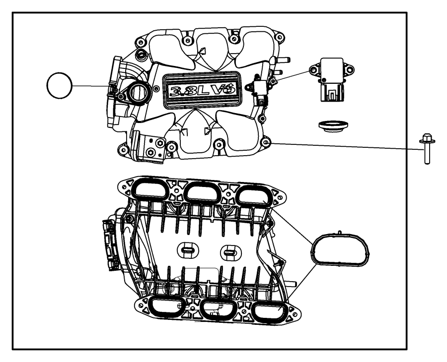 Chrysler Town & Country Engine Intake Manifold. Upper