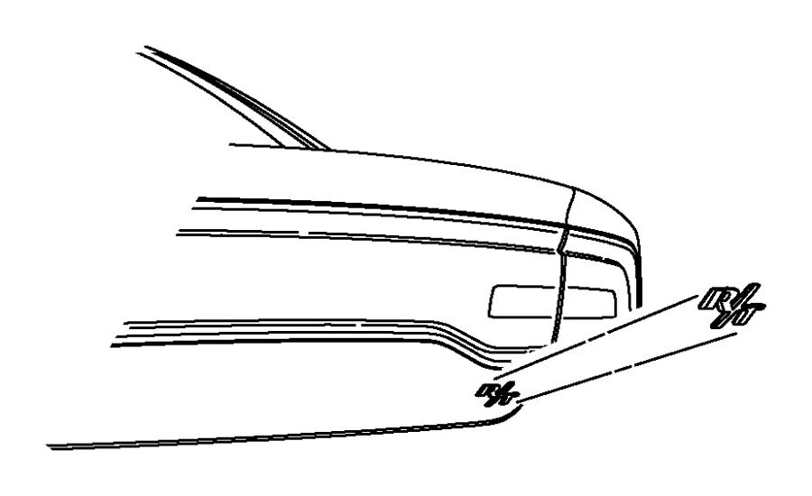 Dodge Charger Emblem. Nameplate. R/T. R/T, chrome. RT