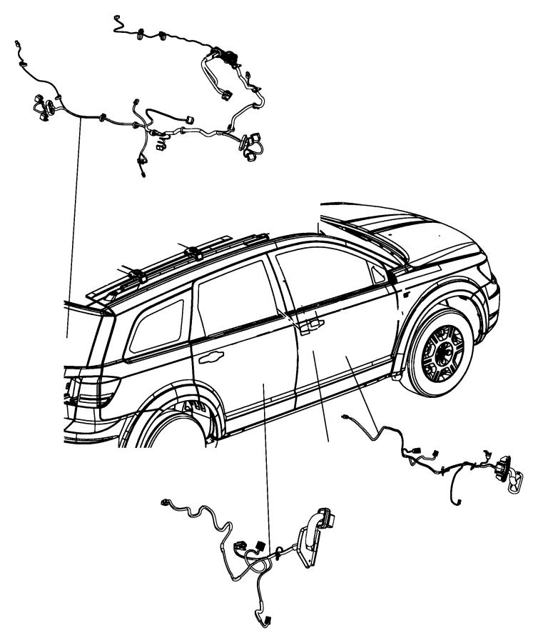 Dodge Journey Door Wiring Harness (Front). 2011-20, w