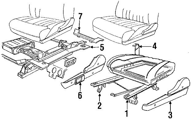 Chrysler LeBaron Seat track. Track ASSEMBLY. Manual, inner