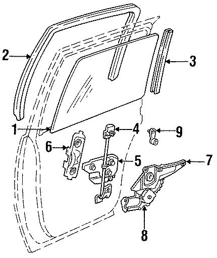 Chrysler New Yorker Rear channel. W/Landau. Right, GLASS
