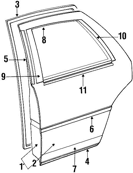 Dodge Dynasty Window molding. Front. DOOR, REAR, EXTERIOR