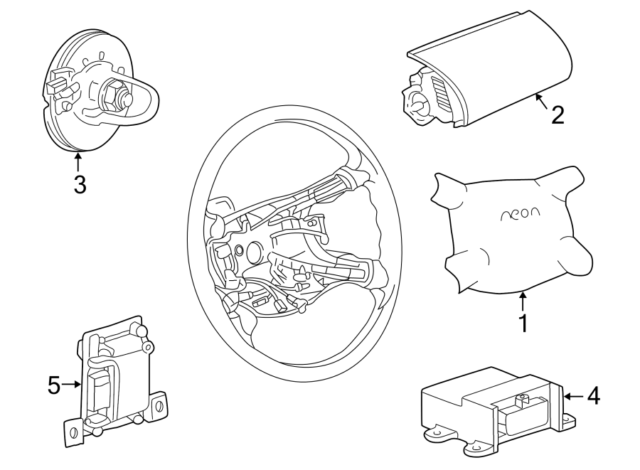 Dodge Neon Steering Wheel Air Bag. Inflator, Module