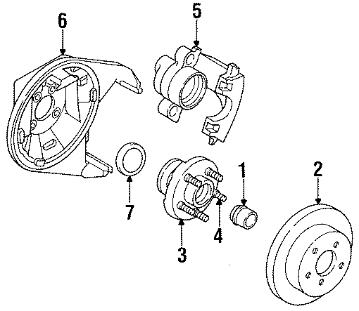 Dodge Neon Adapter. Backing plate. Caliper assembly. Disc