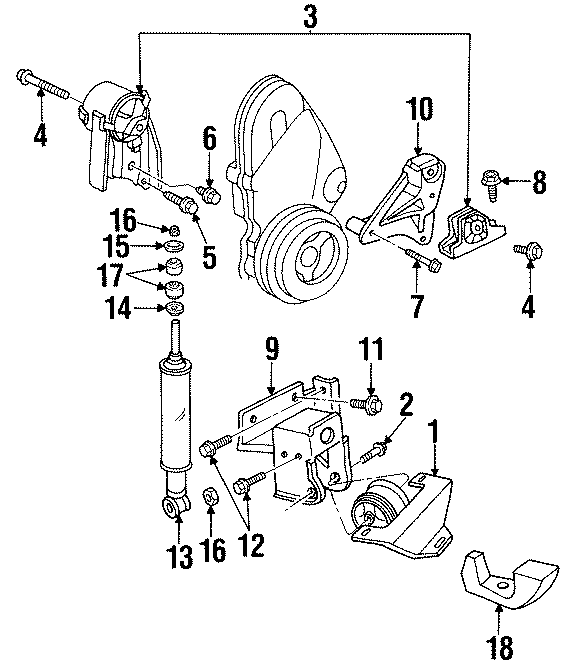 Dodge Neon Engine Torque Strut Washer. 2.0 LITER, 1995-96
