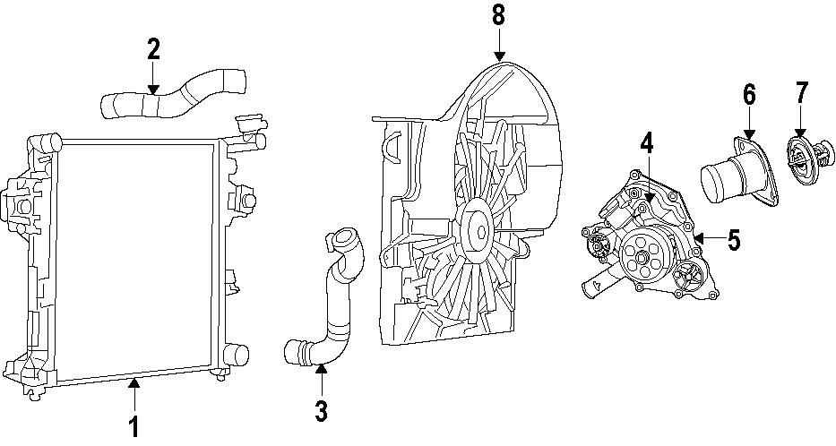 Jeep Grand Cherokee Radiator Coolant Hose (Lower). 5.7