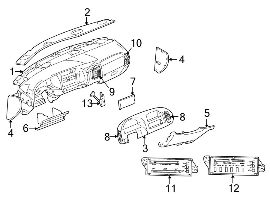Dodge Ram 3500 Van Instrument Panel Bezel. 1998-2003