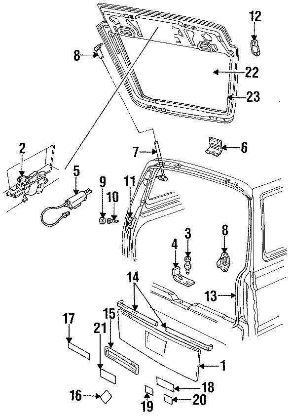 Dodge Caravan Nameplate. ES, chrome. W/o decor package