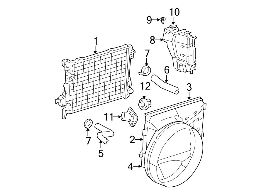 Dodge Ram 1500 Thermostat. Engine. Coolant. (Front