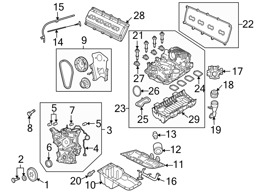 Jeep Grand Cherokee Manifold. PCV. Gasket. Valve Grommet