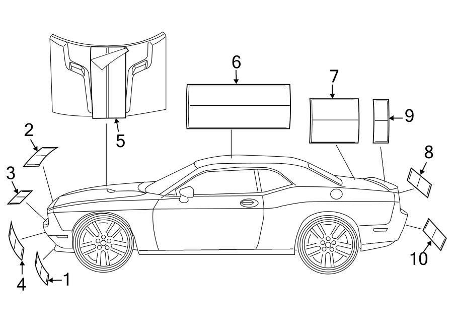 Dodge Challenger Hood Decal. SRT 392, hood, silver. STRIPE