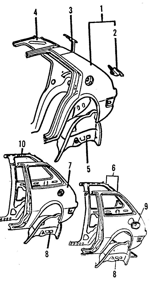 Dodge Colt Rear REINFORCED. 4 DOOR. QUARTER, PANEL, LAMPS