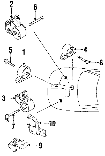 Dodge Colt Engine bracket brace. Stay. 1.5 LITER. 1.5