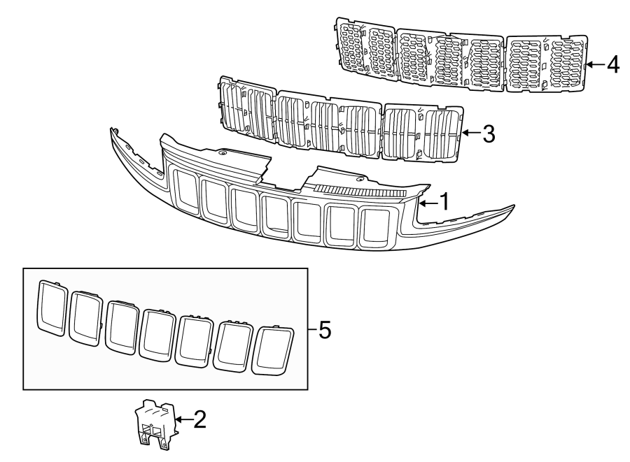 Jeep Grand Cherokee Grille (Upper, Lower). 2014-16