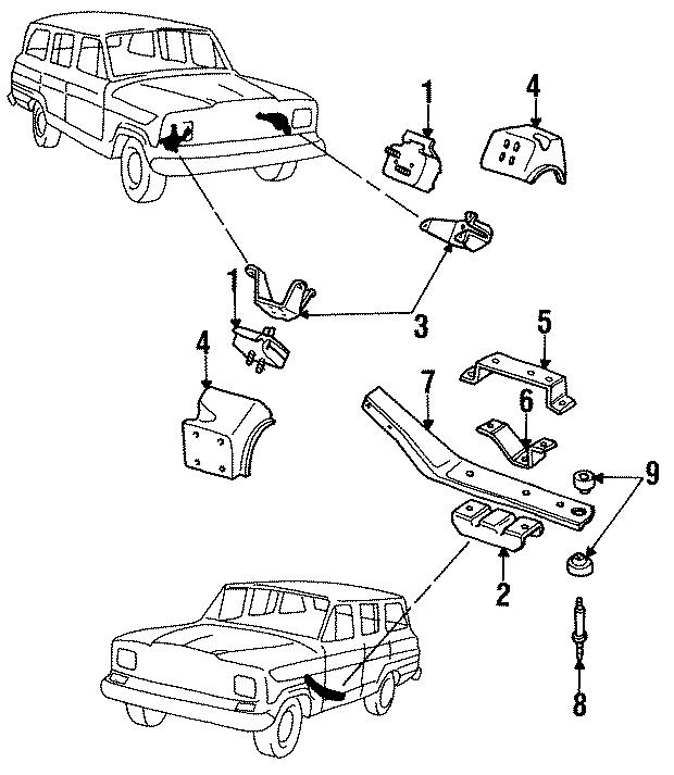 Jeep J10 Rear bracket. 8 CYLINDER, auto trans, lower