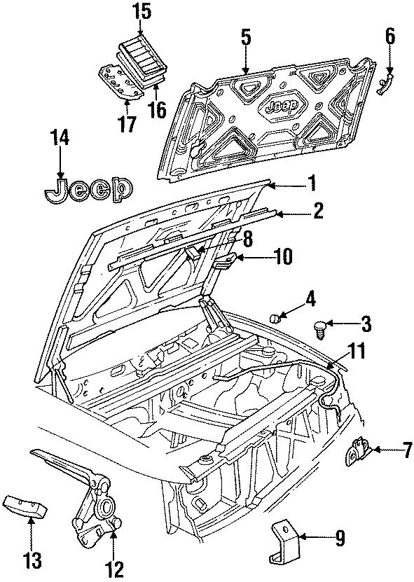 Jeep Grand Wagoneer Hood Insulation Pad Clip. 1981-93. Gas