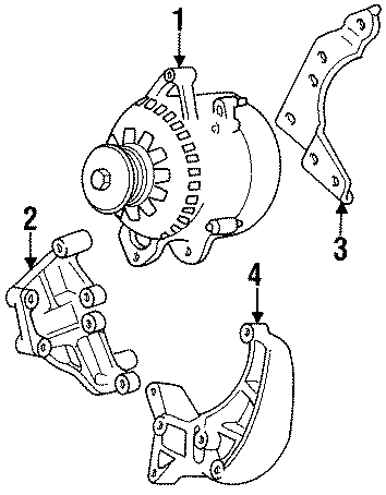 Jeep Grand Cherokee Alternator Bracket. 1997-02, rear, 4.0