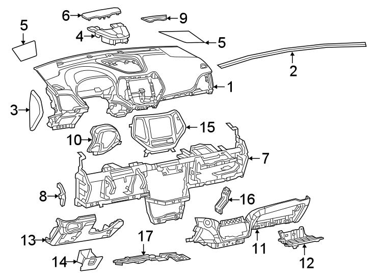 Jeep Cherokee Instrument Panel Knee Bolster. 2019-20, w