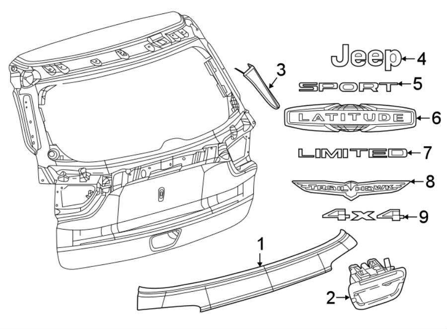 Jeep Compass Liftgate Pull Handle. W/proximity keyless